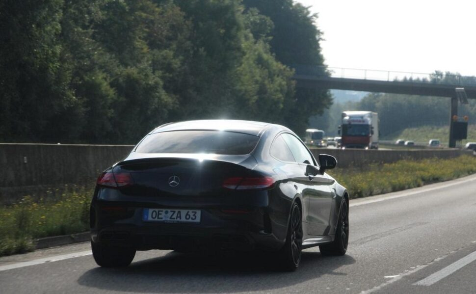 C63 on the Autobahn
