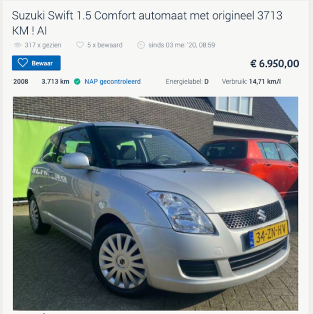 Suzuki Swift lage kilometerstand