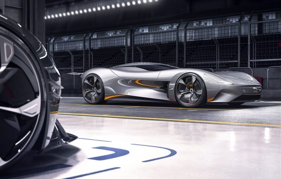 De Jaguar EV-type zou er ongeveer uit kunnen zien zoals de Vision GT
